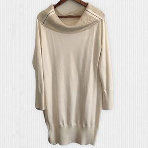 Ivory/Gold Cowl Neck Sweater Dress XL